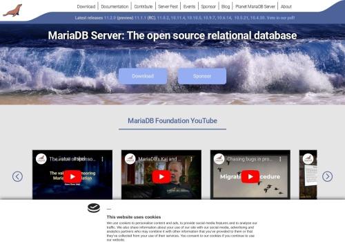 Screenshot of mariadb.org