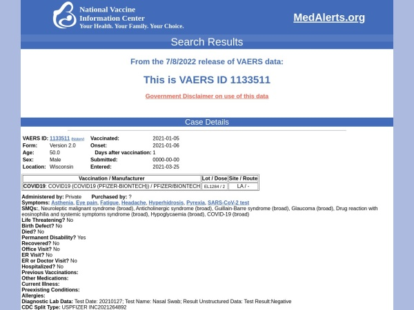 Screenshot of medalerts.org