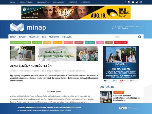 Screenshot of minap.hu