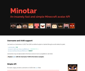 Screenshot of minotar.net