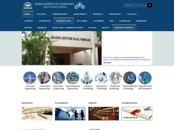 Screenshot of mitindia.edu