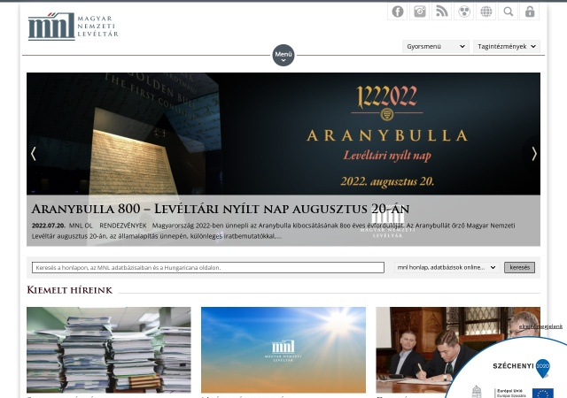Screenshot of mnl.gov.hu