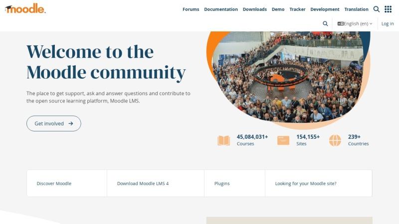 Screenshot von moodle.org