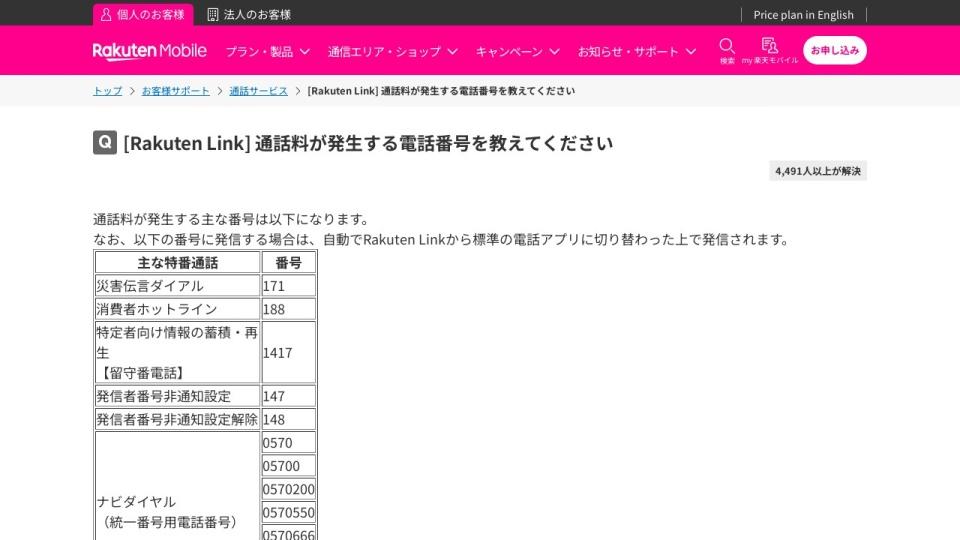 Screenshot of network.mobile.rakuten.co.jp