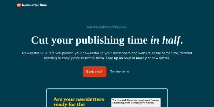 Screenshot of newsletterglue.com