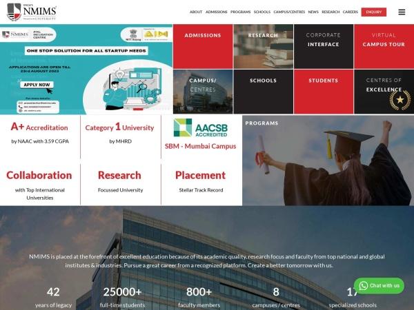 Screenshot of nmims.edu