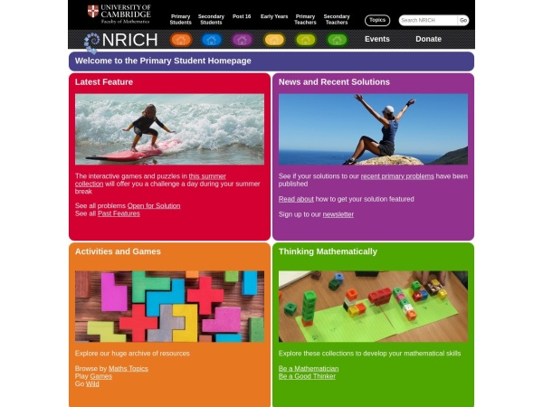 Screenshot of nrich.maths.org