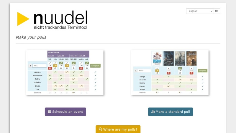 Screenshot von nuudel.de