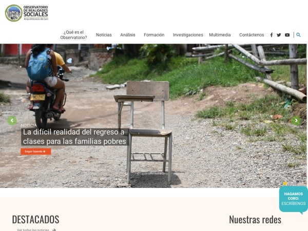 Captura de pantalla de observatoriorealidades.arquidiocesiscali.org