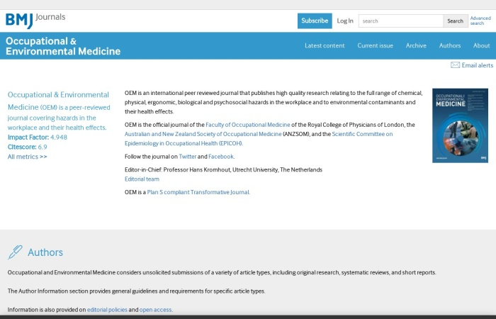 Screenshot of oem.bmj.com