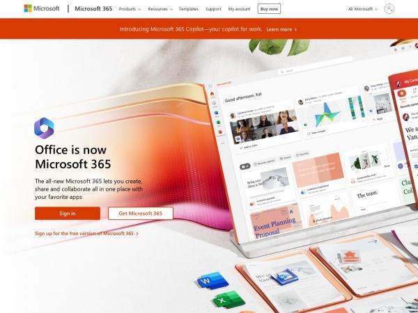 Screenshot von office.com
