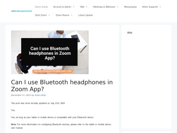 Can I use Bluetooth headphones in Zoom App?