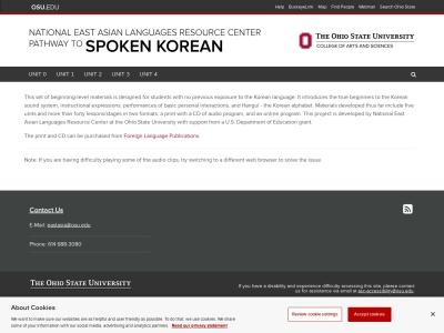 Screenshot of pathwaytokorean.osu.edu