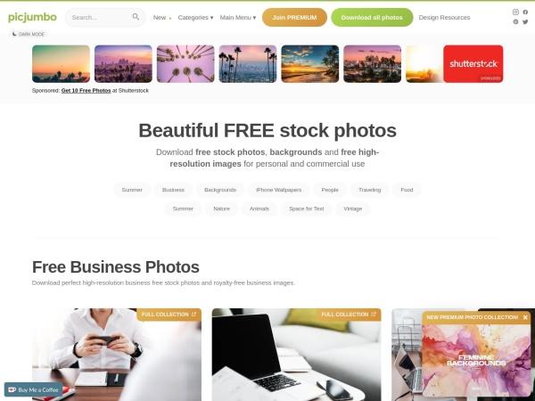 Screenshot of picjumbo.com