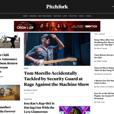 Screenshot of pitchfork.com
