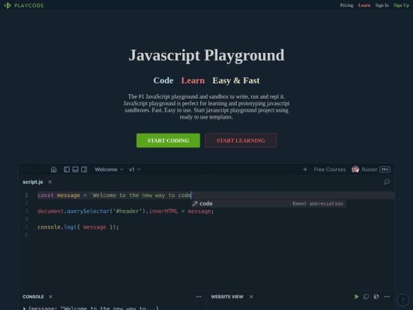 Screenshot of playcode.io