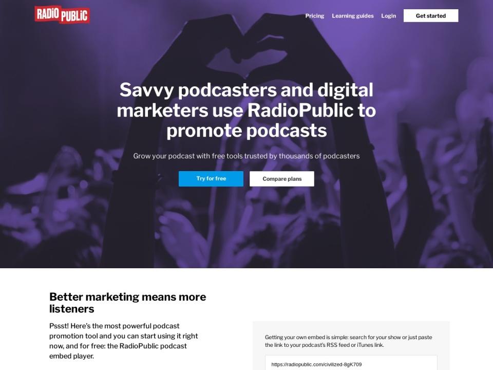 Screenshot of podcasters.radiopublic.com