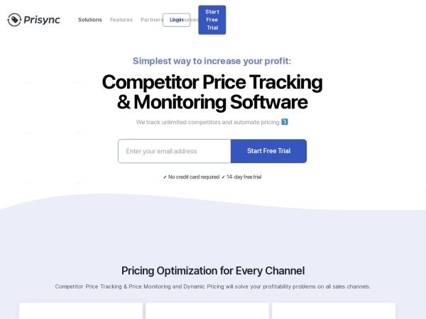 Screenshot of prisync.com