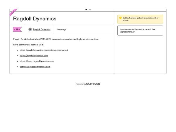 Screenshot of ragdolldynamics.gumroad.com