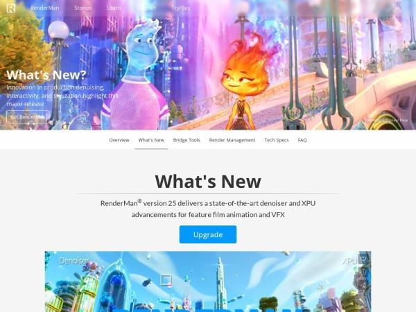 Screenshot of renderman.pixar.com