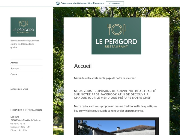 Screenshot of restaurantleperigord.wordpress.com