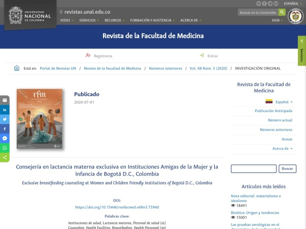 Captura de pantalla de revistas.unal.edu.co