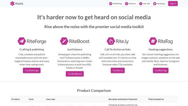 Screenshot of ritekit.com
