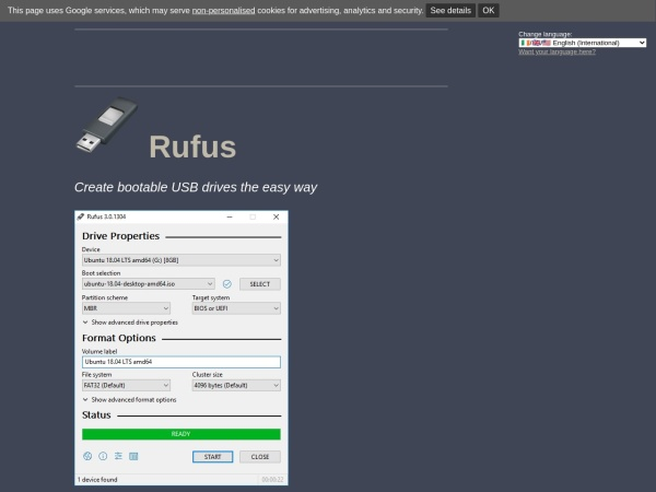 Screenshot von rufus.ie