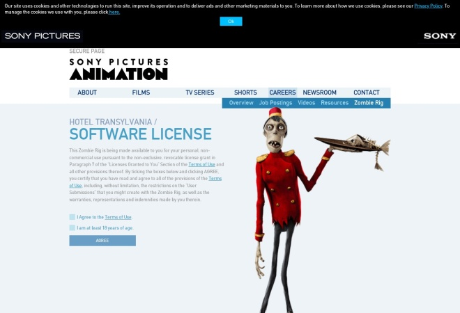 Screenshot of secure.sonypictures.com