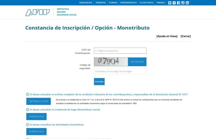 Captura de pantalla de seti.afip.gob.ar
