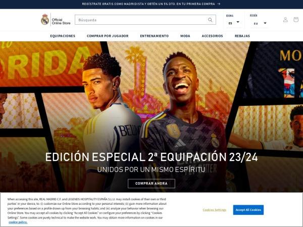 Captura de pantalla de shop.realmadrid.com