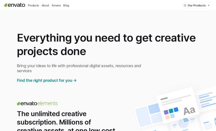 Screenshot of sites.envato.com