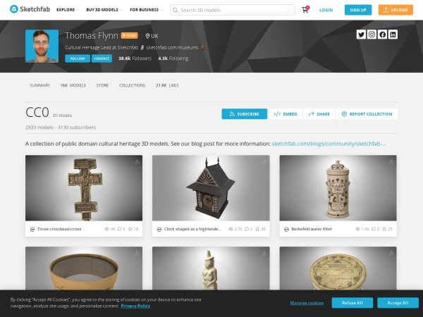 Screenshot of sketchfab.com