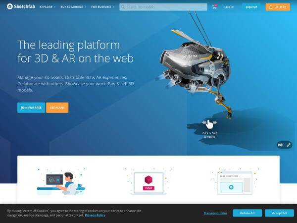 Screenshot of sketchfab.com
