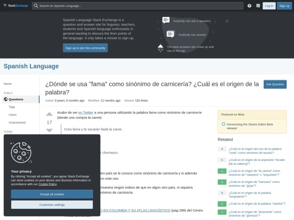 Captura de pantalla de spanish.stackexchange.com