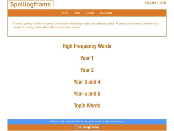 Screenshot of spellingframe.co.uk