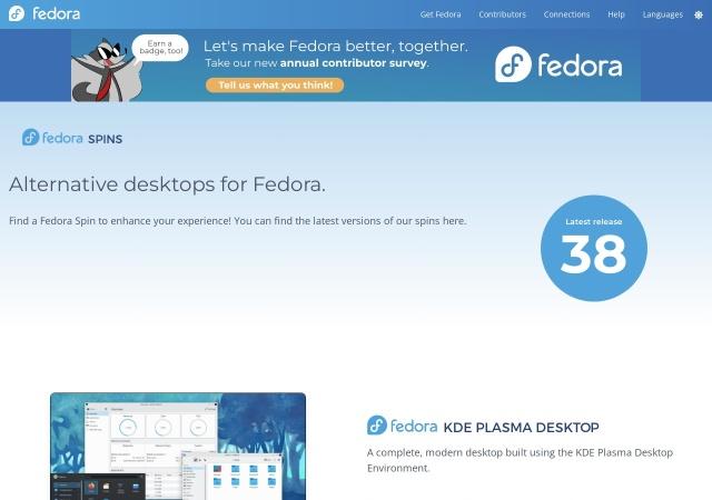 Screenshot of spins.fedoraproject.org