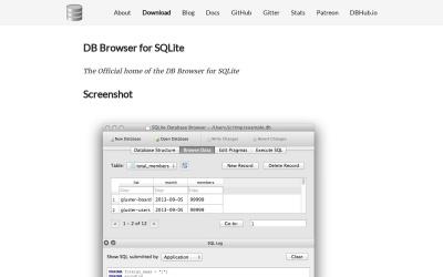 Screenshot of sqlitebrowser.org