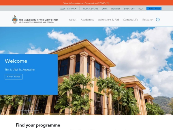 Screenshot of sta.uwi.edu