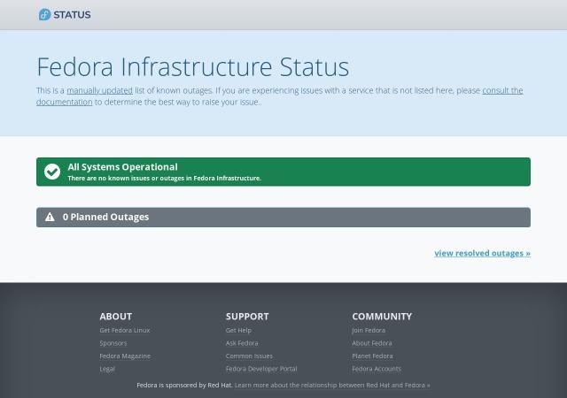 Screenshot of status.fedoraproject.org