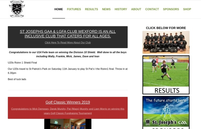 Screenshot of stjosephsgaaclubwexford.ie