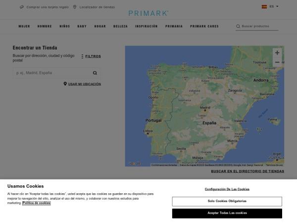 Captura de pantalla de stores.primark.com