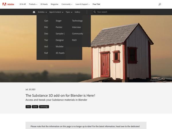 Screenshot of substance3d.adobe.com