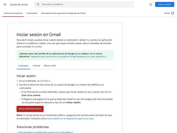 Captura de pantalla de support.google.com
