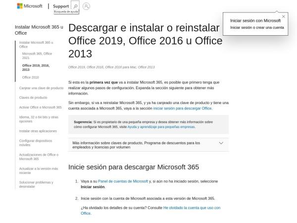 Captura de pantalla de support.microsoft.com