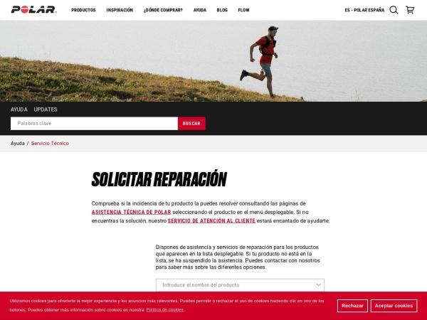 Captura de pantalla de support.polar.com
