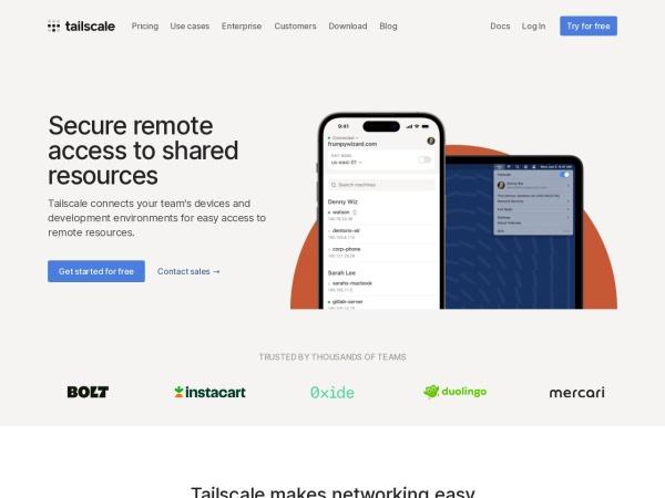 Screenshot von tailscale.com