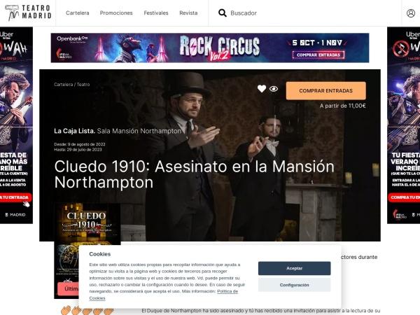 Captura de pantalla de teatromadrid.com