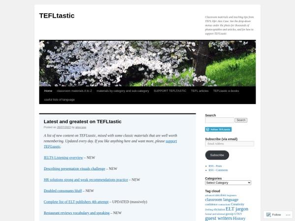 Screenshot of tefltastic.wordpress.com