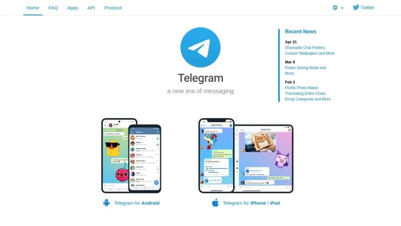 Screenshot von telegram.org